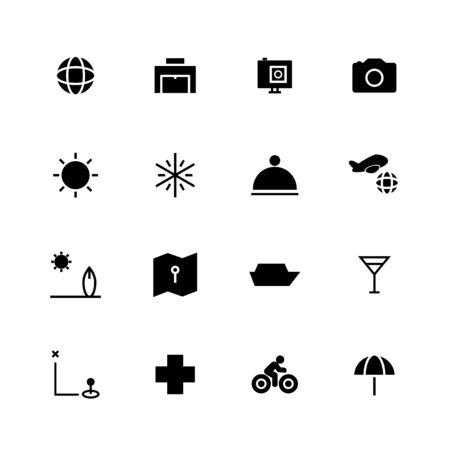 Travel solid icon design set