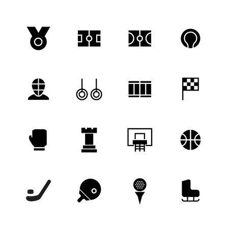 Sport solid icon design set