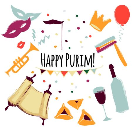 Vector illustration Happy Purim carnival set of design elements. Purim Jewish holiday, isolated on white background.