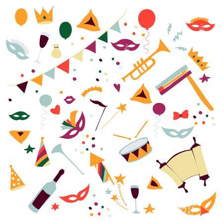 Illustrazione di vettore Insieme felice di carnevale di Purim degli elementi di progettazione. Festa ebraica di Purim, isolata su sfondo bianco. Vettoriali