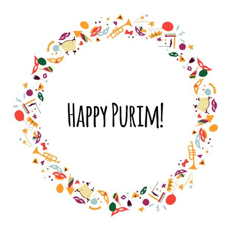 Vector illustration Happy Purim carnival. Frame in the form of a wreath.