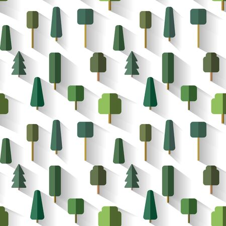 Pattern of Set trees in vector flat design style isolated on white background Ilustração