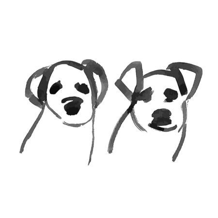 Vector illustration a dog head cartoon contour isolated on white