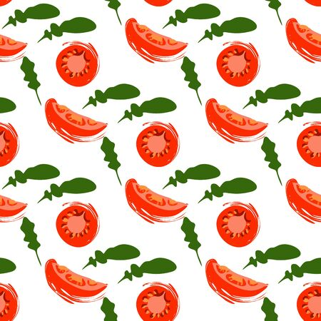 Seamless pattern with slices of tomato and arugula on a white background