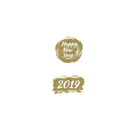 Vector illustration gold brush stroke Happy New Year 2019 Çizim