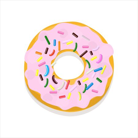 Vector illustration of a donut in pink glaze with multi-colored pastry topping isolated on a white Иллюстрация