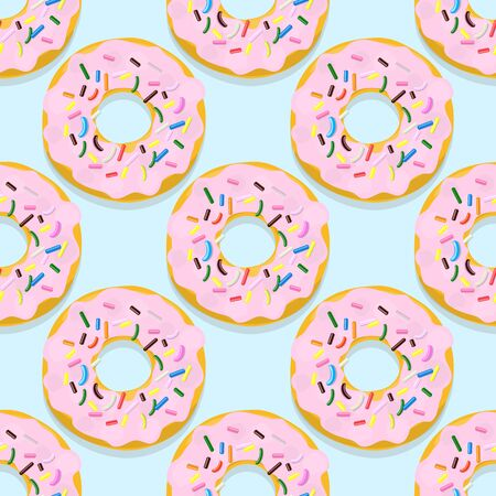 Vector seamless pattern illustration of donuts in pink glaze on a blue
