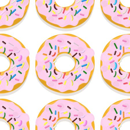 Vector seamless pattern illustration of donuts in pink glaze on a white
