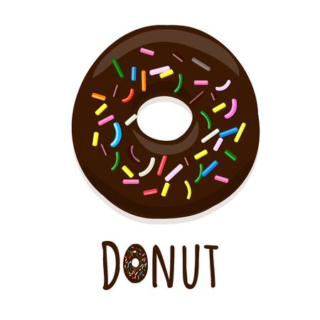 Vector illustration of donut in chocolate glaze on a white