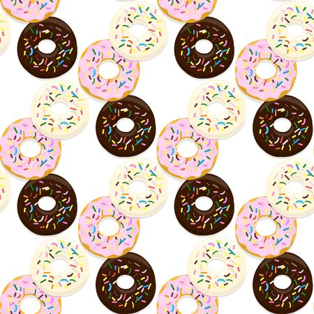 Vector seamless pattern illustration of donuts in chocolate, pink and light glaze on a white