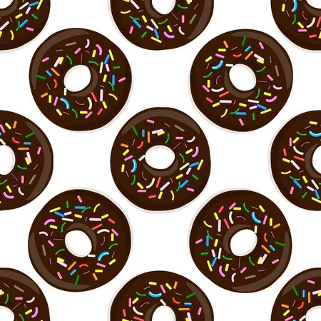 Vector seamless pattern illustration of donuts in chocolate glaze on a white