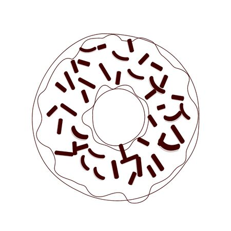 Vector illustration of a donut in line design brown color isolated on a white background.