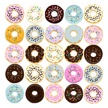 Sweet donut set of traditional american sweet dessert with colorful glaze and sprinkles isolated on a white for menu design, cafe decoration, delivery box. Vector illustration Иллюстрация