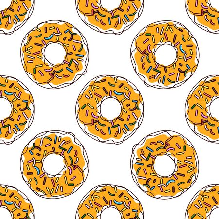 Vector seamless pattern illustration of donuts in cartoon design isolated on white