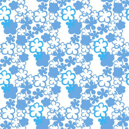 Vector seamles pattern small blue flowers on a white Stock Illustratie