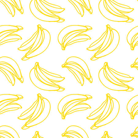 Vector seamless pattern with illustration of bananas in line art yellow color on a white Иллюстрация