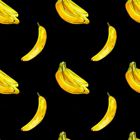Seamless pattern with watercolor illustration of bananas on black Stock Photo