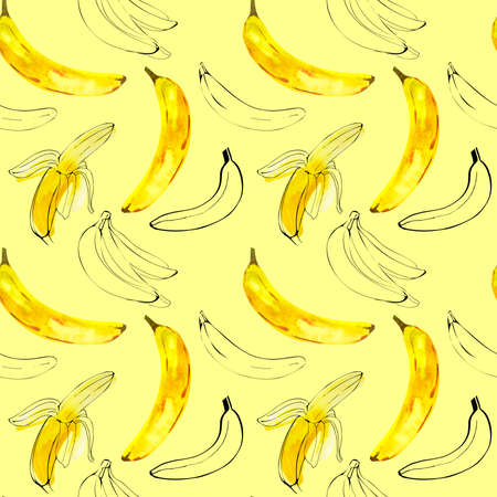 Pattern with watercolor illustration bananas with ink sketch line on yellow background