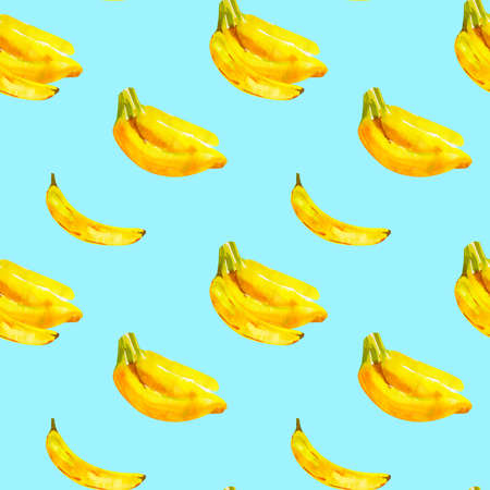 Seamless pattern with watercolor illustration bananas on blue Фото со стока