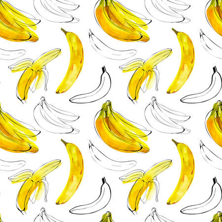 Seamless pattern with watercolor illustration bananas with ink sketch line on white