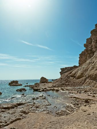 Rocky shore of the Red Sea.