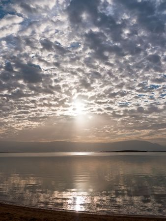 Sunrise over the Dead Sea in Israel. photo