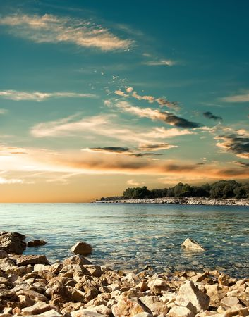 Sunset over the Adriatic Sea in Croatia.