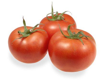 Three tomato isolated on white background Stock Photo - 7599898