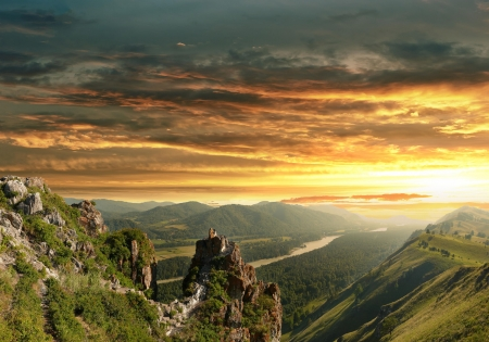 rivers mountains: Sunset in the Altai Mountains