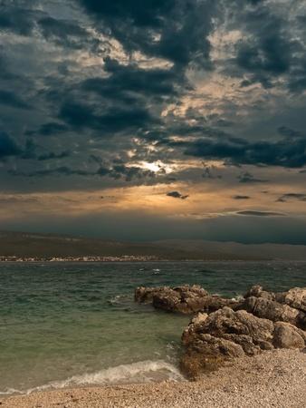 A beautiful sunset over the Adriatic Sea in Croatia photo