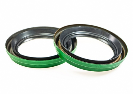 Oil seals on white background