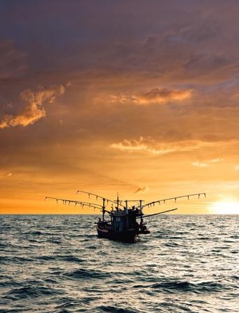 Fishing boat. Night fishing for squid