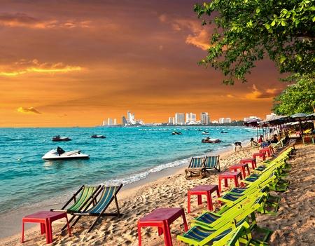 pink sunset: Evening Landscape. Pattaya City in Thailand. Stock Photo