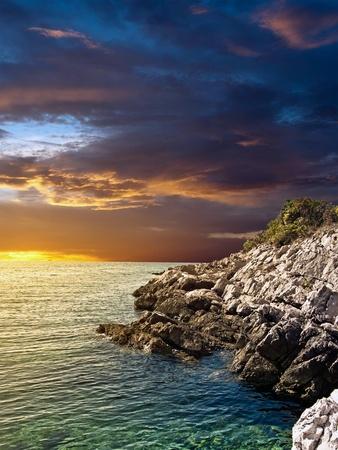 over the sea: Sunset over the sea. Stock Photo