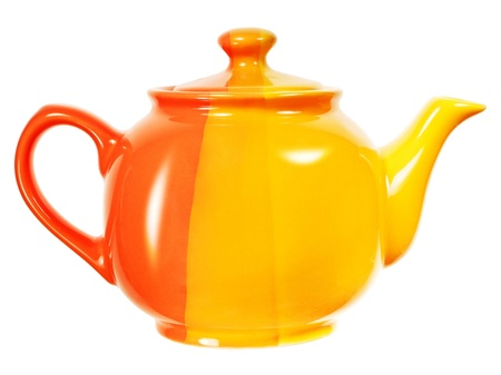 yellow tea pot: Teapot isolated on white background