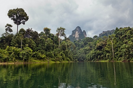 Tropical Landscape. Cheow Lan lake. Khao Sok National Park. Thailand.
