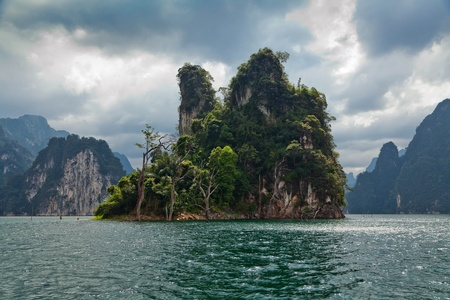 Tropical Landscape. Cheow Lan lake. Khao Sok National Park. Thailand. photo