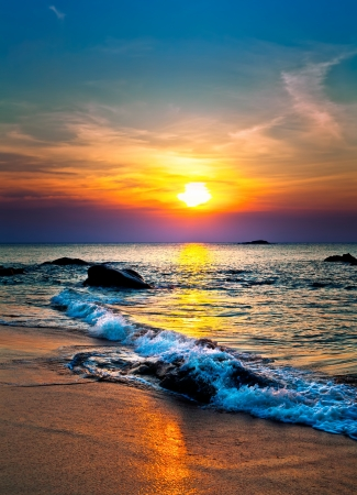 Colorful sunset over the sea (beach)