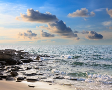 koh samet: Sunrise on the island of Koh Samet in Thailand Stock Photo