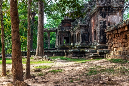The majestic ancients buildings in Angkor Wat photo