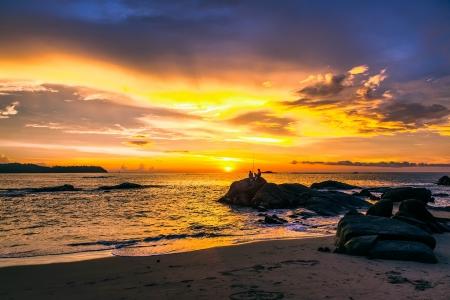 Colorato tramonto sul mare Archivio Fotografico
