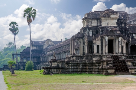 The ancient architecture of Angkor Wat temple in Cambodia photo