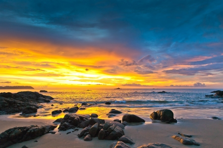 sunset beach: Colorful sunset over the sea