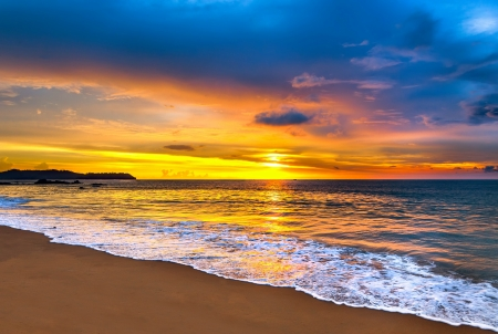 Colorful sunset over the sea  Stockfoto