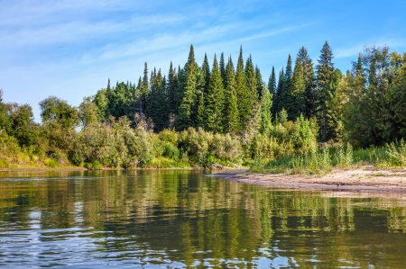 woods lake: Siberiano paesaggio