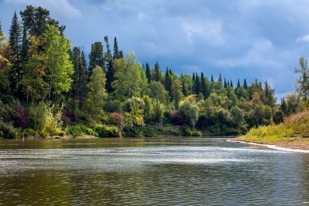 Siberian landscape with the river Stock Photo