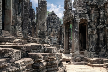 thom: The ruins of Angkor Thom Temple in Cambodia
