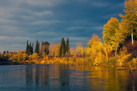Autumn Sunset in the wild Siberian taiga Stock Photo - 16405004