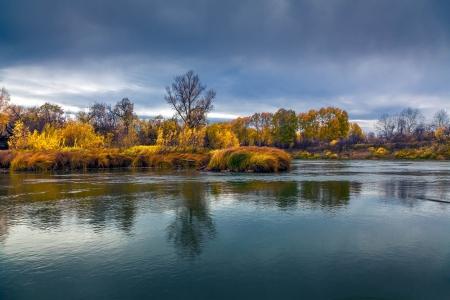 Autumn Sunset in the wild Siberian taiga Stock Photo - 16404988