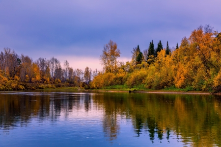 Autumn evening in the Siberian taiga photo